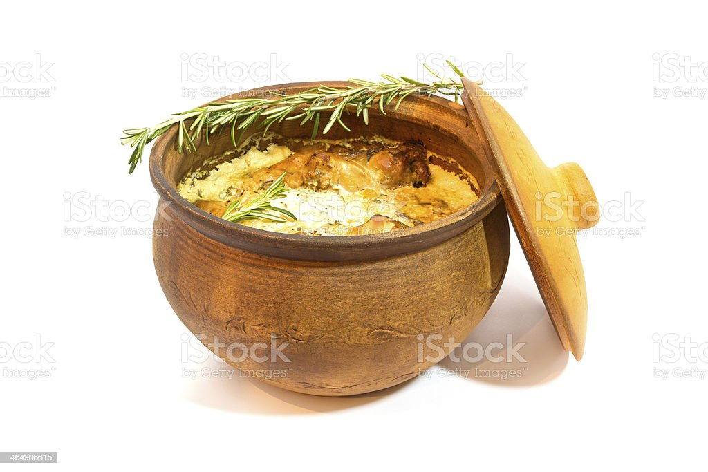 Meat in Cooking Pot stock photo