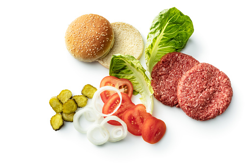 Meat: Ingredients for a Hamburger Isolated on White Background
