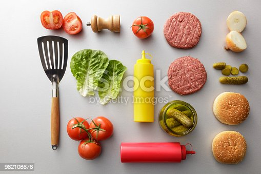 Meat: Ingredients for a Hamburger Still Life