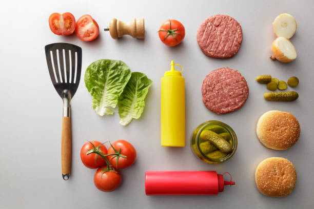 Meat: Ingredients for a Hamburger Still Life Meat: Ingredients for a Hamburger Still Life knolling concept stock pictures, royalty-free photos & images