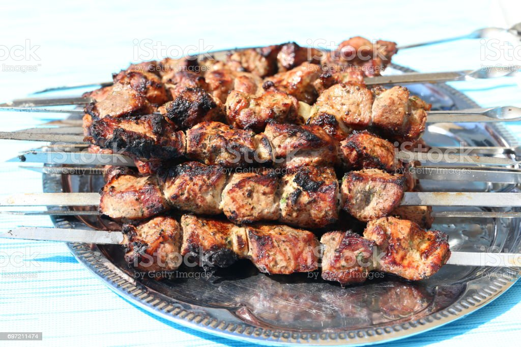 Meat is grilled stock photo