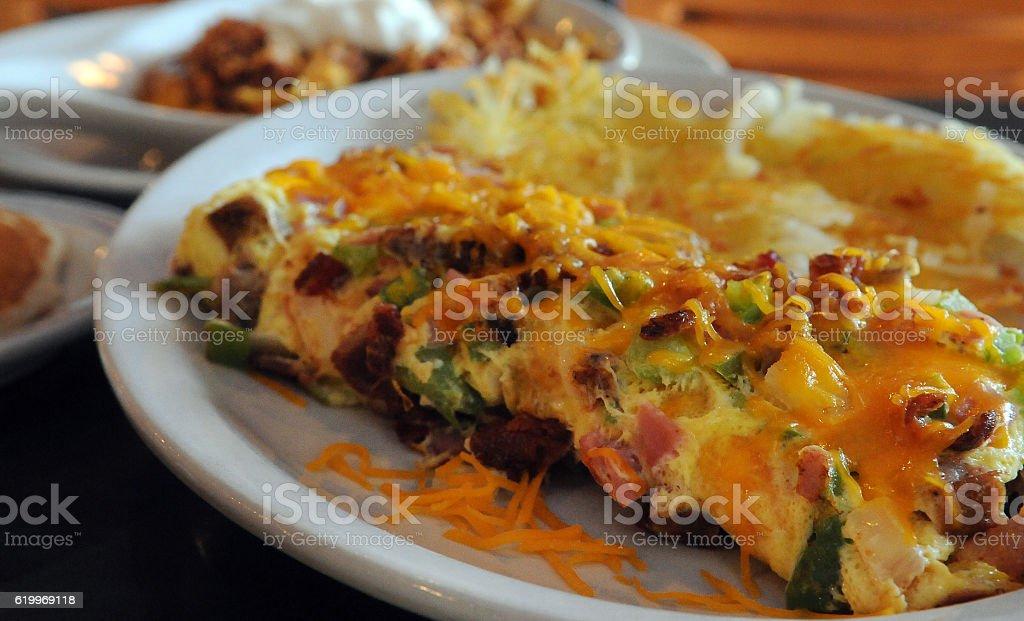 Meat Lovers Omelet Breakfast stock photo