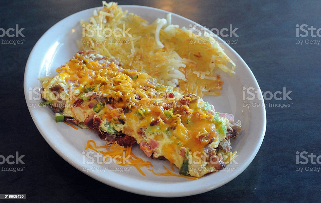 Meat Lovers Omelet Delight stock photo