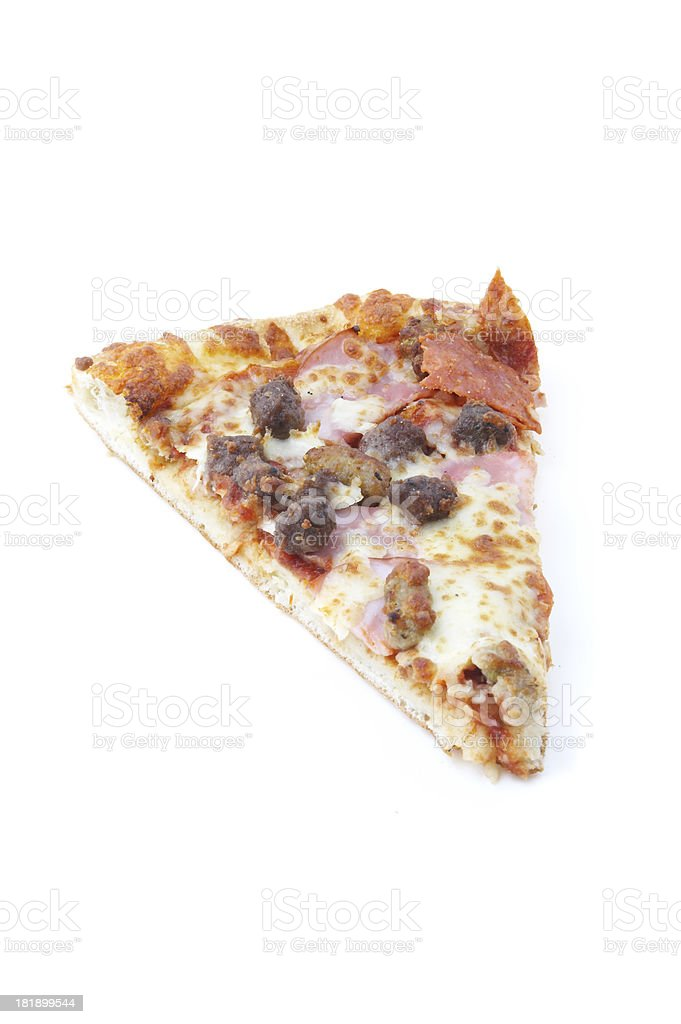 meat lovers pizza slice royalty-free stock photo