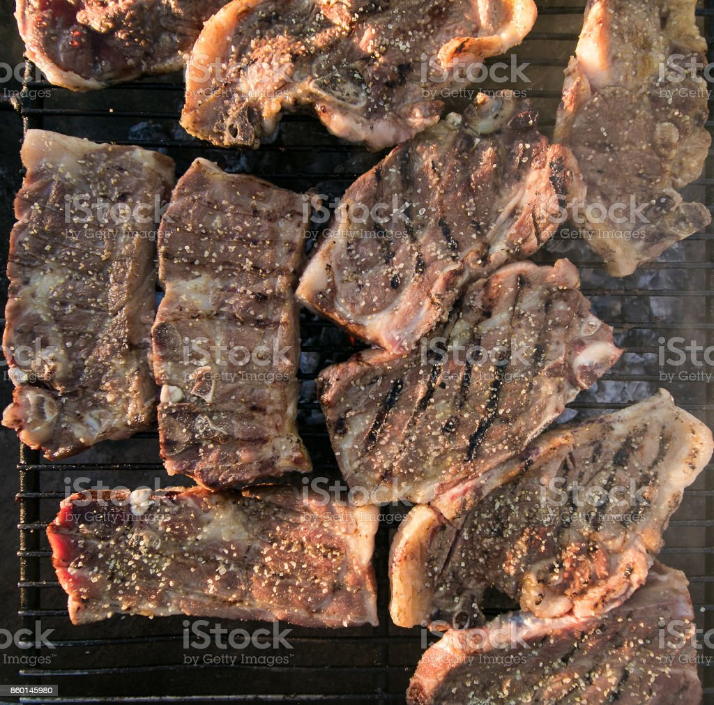 Meat on a braai / barbeque stock photo