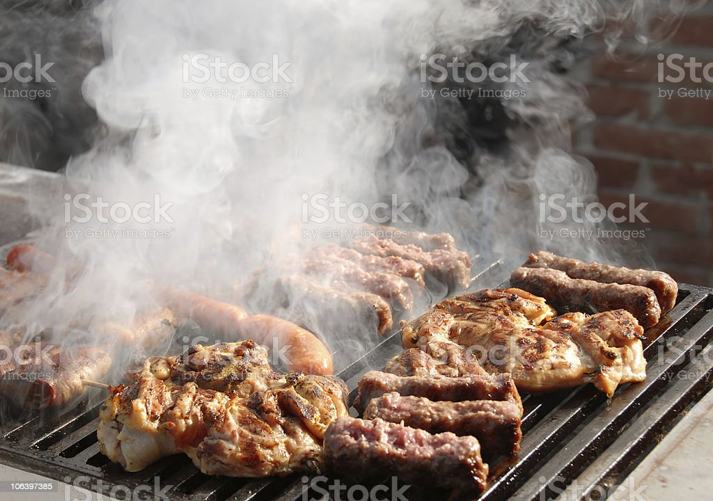 Meat on barbecue stock photo