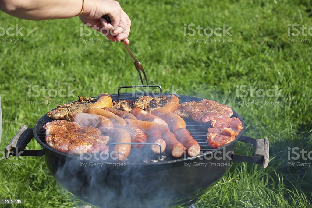 Meat on barbecue royalty-free stock photo