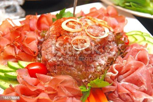 646207652istockphoto meat on buffet - Mettigel 183778888