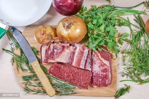 meat on edges a frying pan and greens the top view