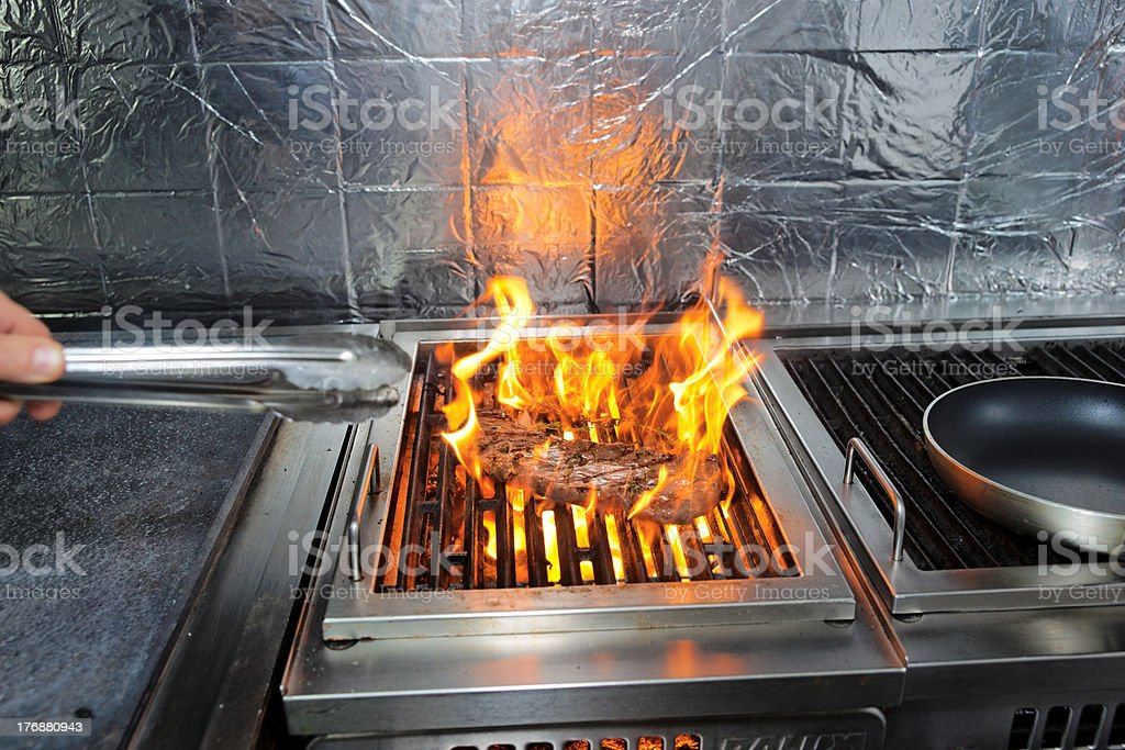 Meat on grill royalty-free stock photo