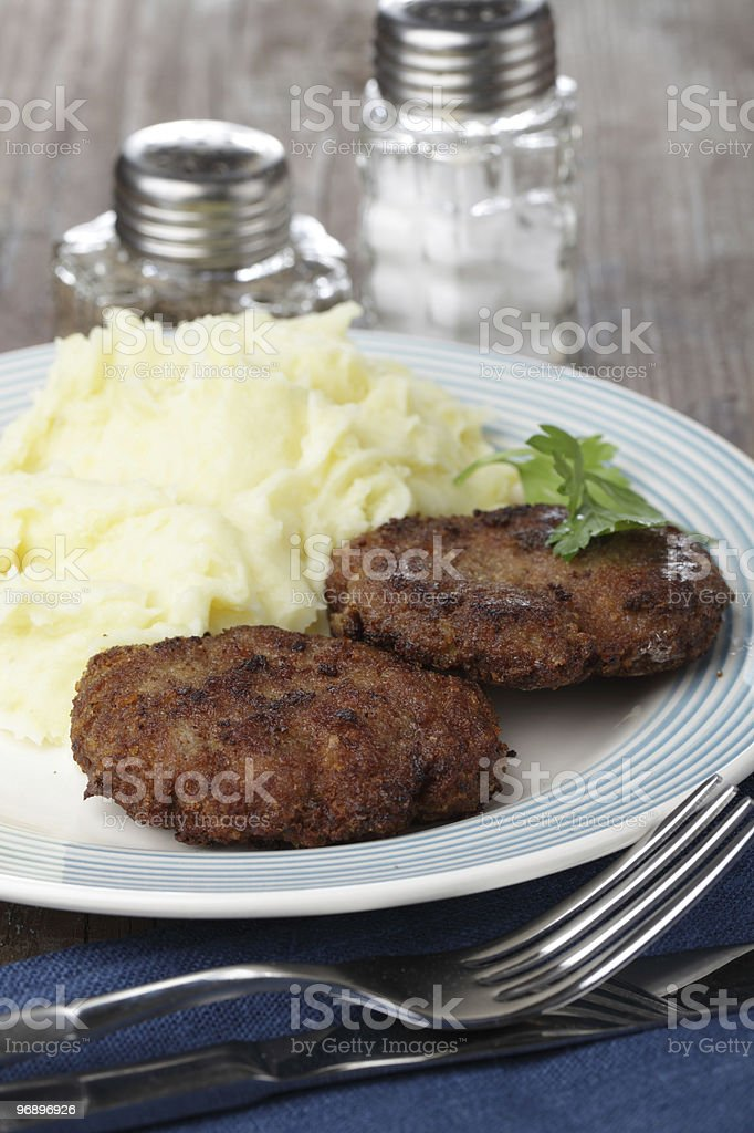 Meat patties with mashed potatoes royalty-free stock photo