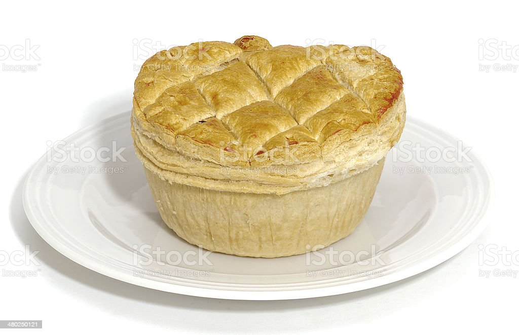 Meat pie on plate stock photo