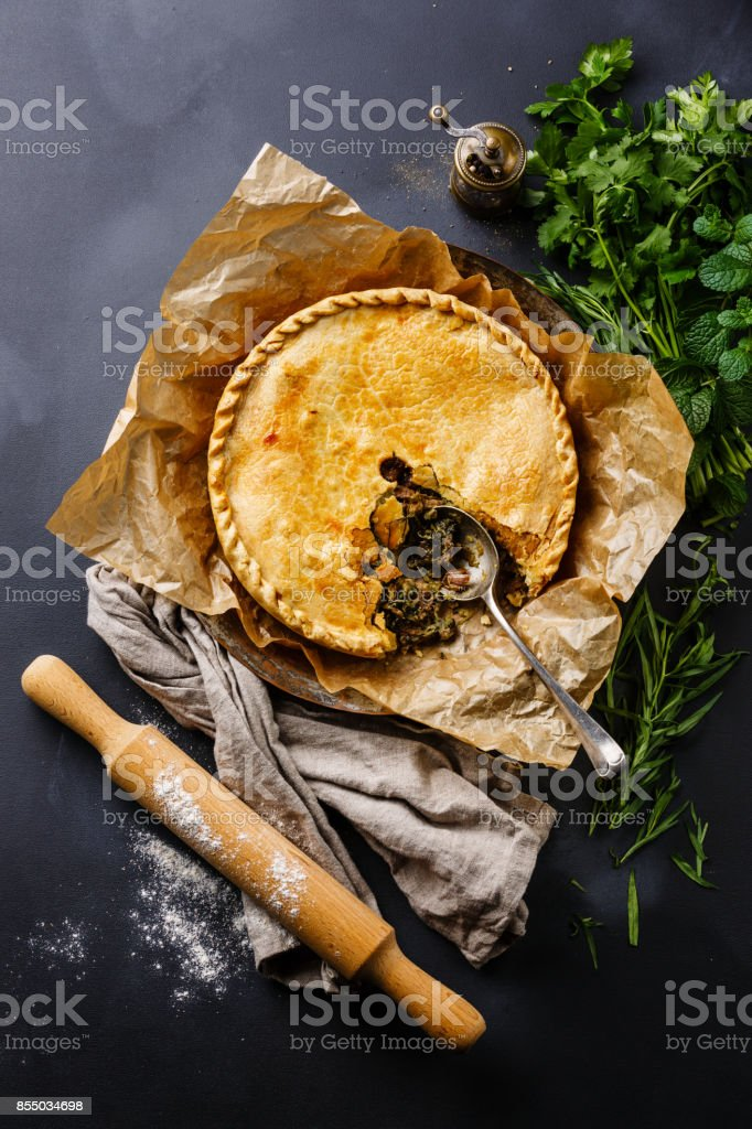 Meat Pie with herbs stock photo