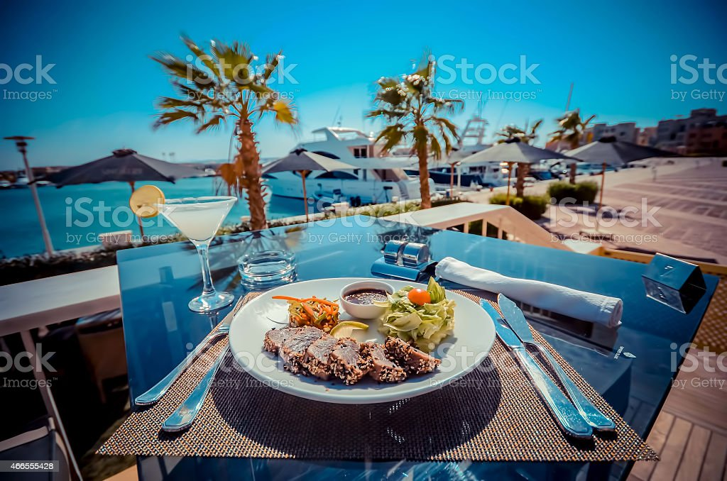 meat plate and drinks stock photo