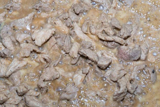 schweinefleisch gehackte aromatisierte saftigen fleischgericht in soße hintergrund kulinarische basisentwurf teller mittagessen - schweinegulasch stock-fotos und bilder