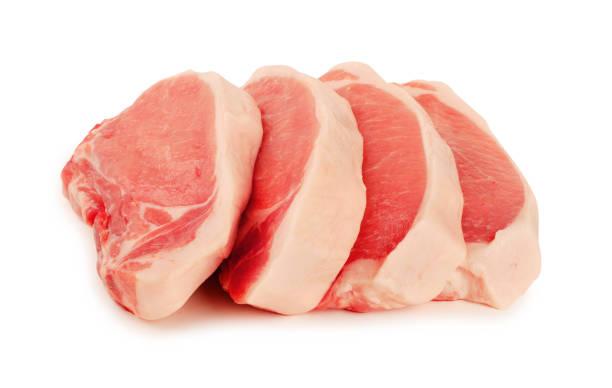 vlees, varkensvlees, plakjes varkensvlees - sirloin stockfoto's en -beelden
