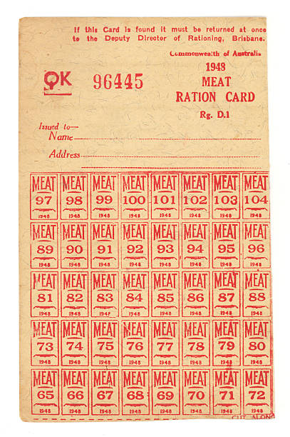 WWII Meat Ration Card A Meat Ration Card from World War 2 in Australia. war effort stock pictures, royalty-free photos & images