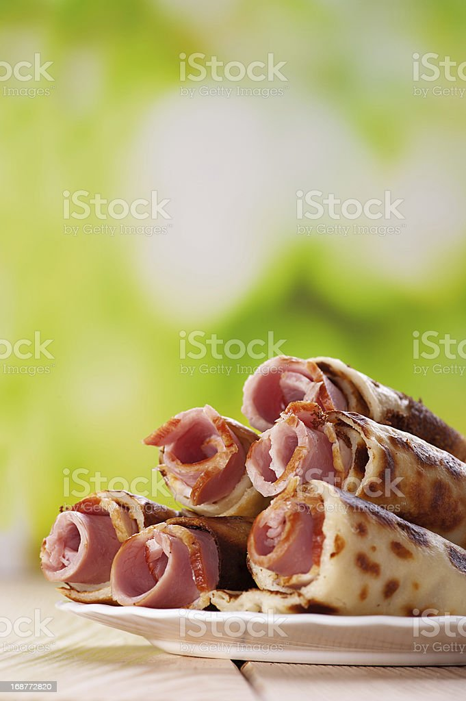 meat rolls in the pancakes royalty-free stock photo