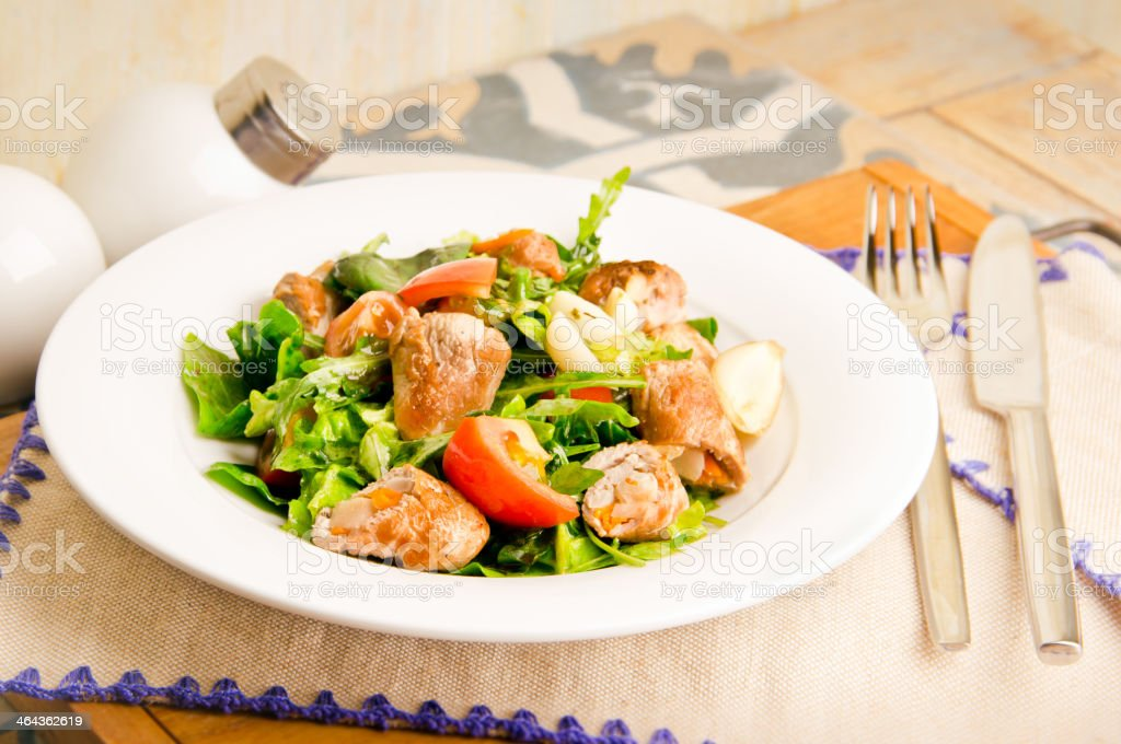 meat salad with tomatoes royalty-free stock photo