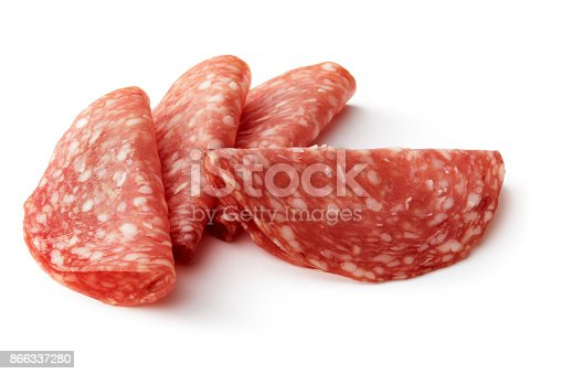 Meat: Salami Isolated on White Background