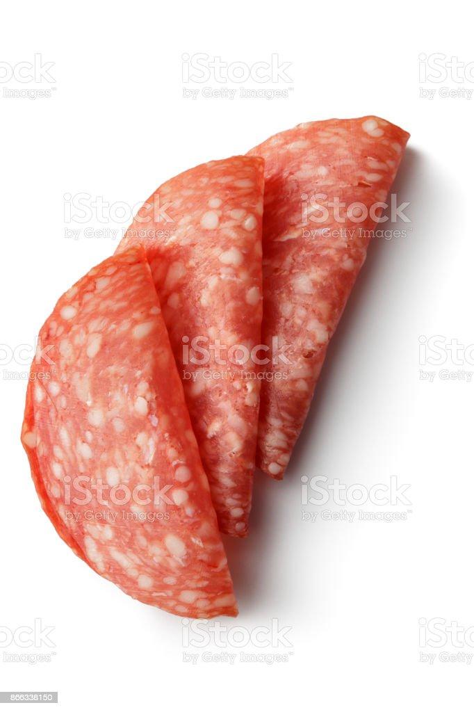 Meat: Salami Isolated on White Background stock photo