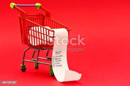 A miniature supermarket trolley contains a list headed Meat; someone's planning a high-protein diet.