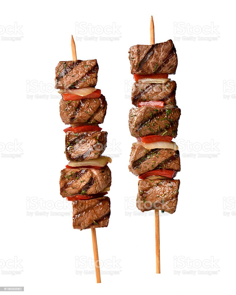 meat skewer on white background stock photo