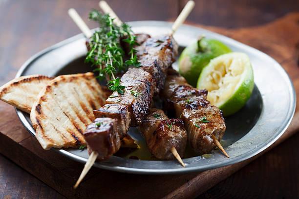 meat skewer stock photo