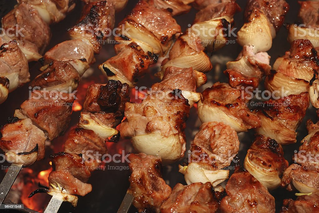 Meat slices prepare on fire royalty-free stock photo