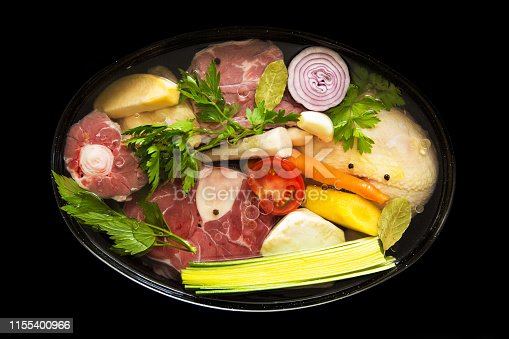 Cooking pan with meat and vegetable ingredients.