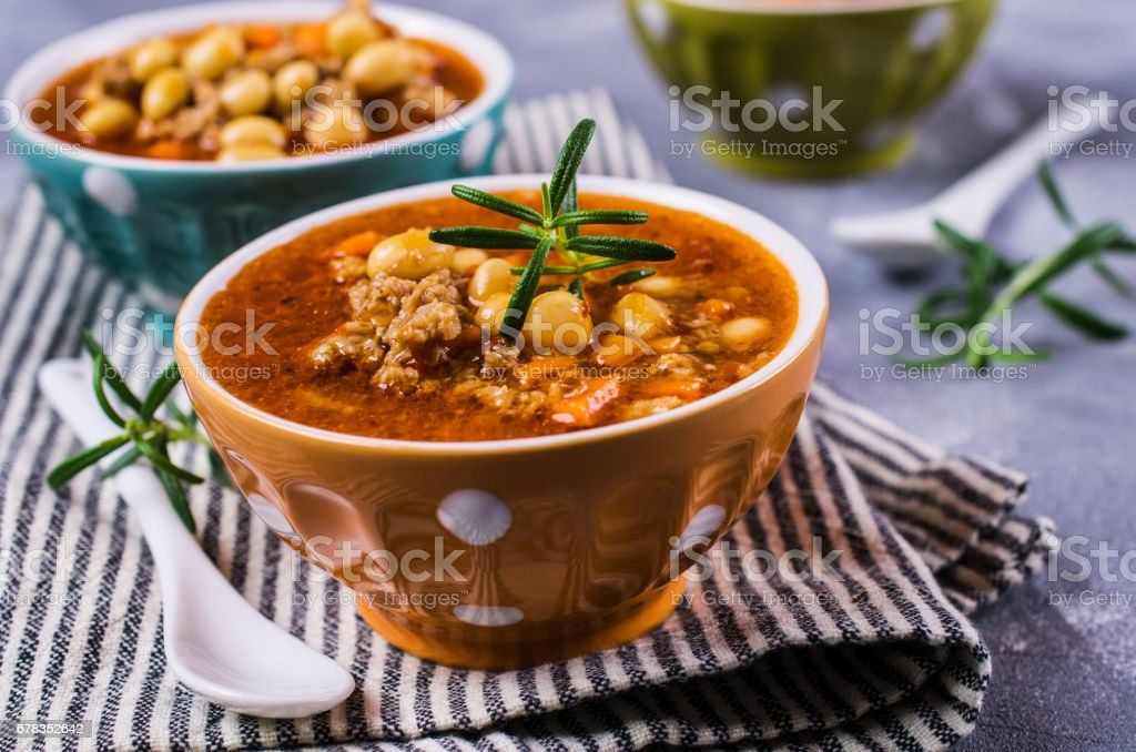 Meat soup with beans stock photo