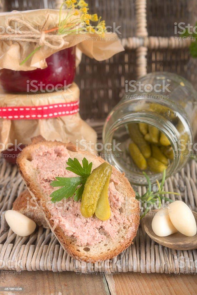 Meat spread bread stock photo