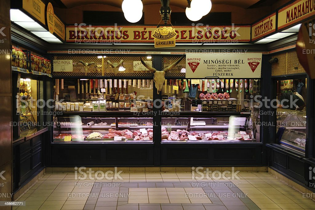meat stall on the Budapest's market royalty-free stock photo