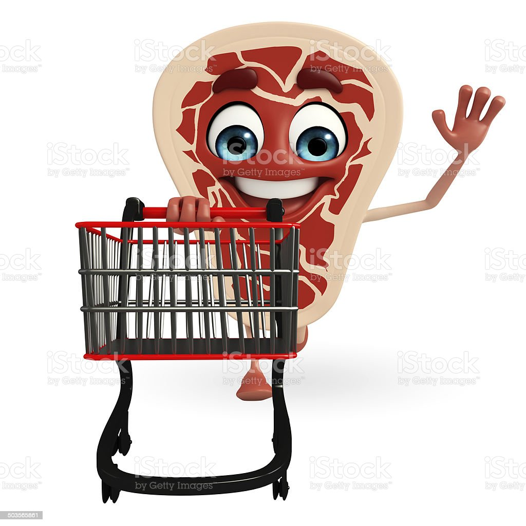 Meat steak character with trolley royalty-free stock photo