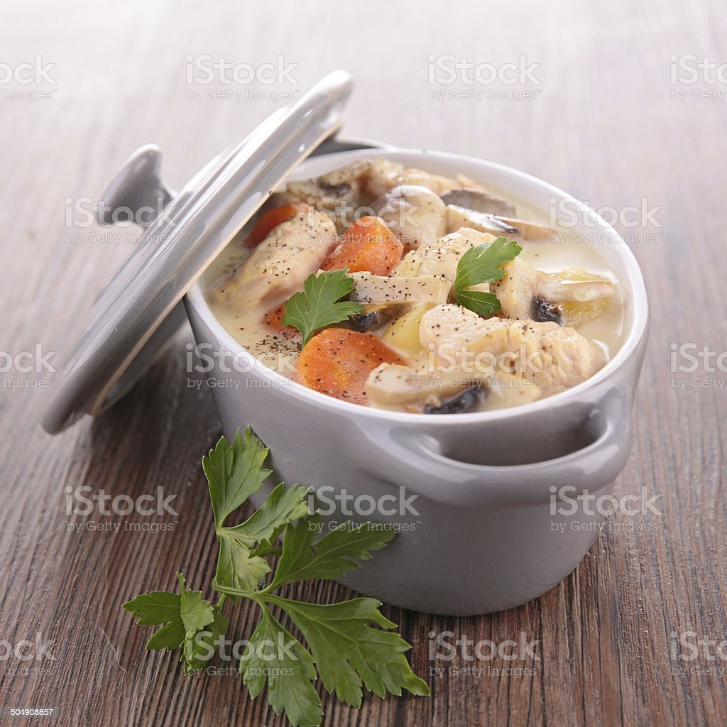 meat stew and vegetables stock photo