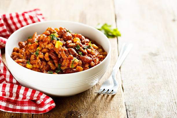 Meat stew Meat stew with beans and corn chili con carne stock pictures, royalty-free photos & images