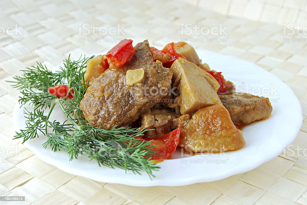 meat stewed with cepes royalty-free stock photo