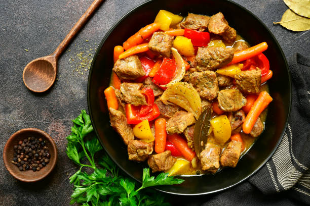 Meat stewed with vegetables stock photo