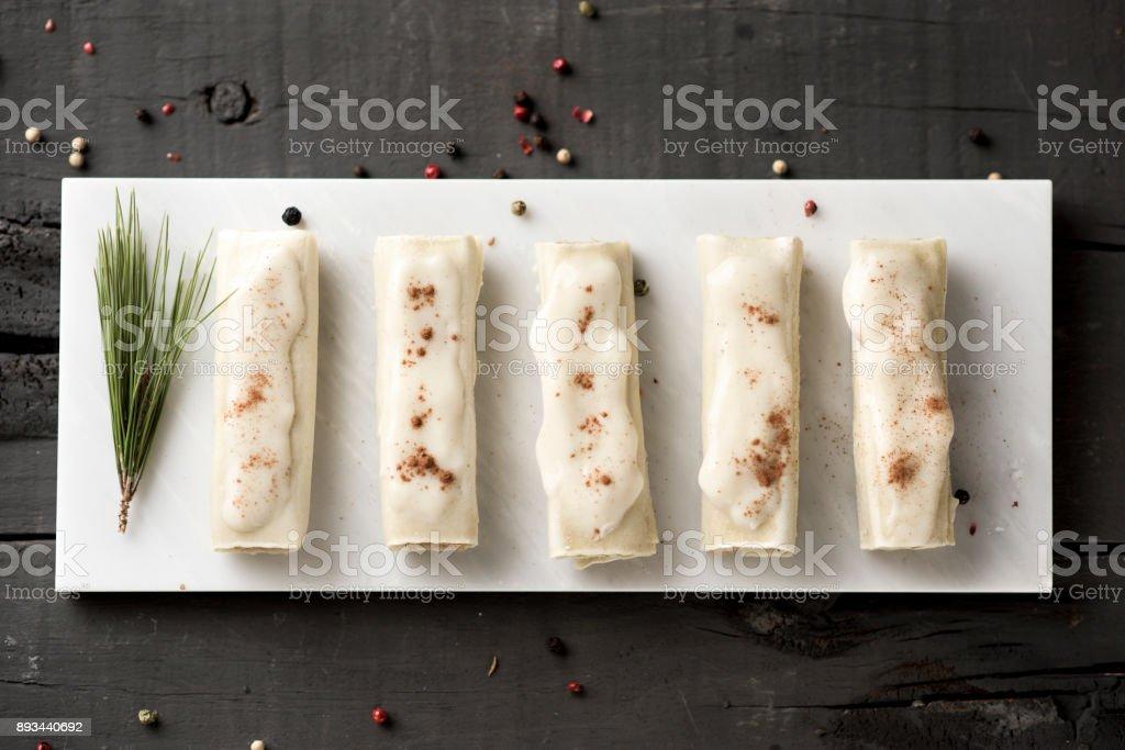 meat stuffed cannelloni stock photo
