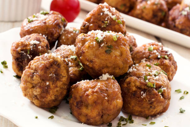 Meat time Gourmet beef meat balls in the plate meatball stock pictures, royalty-free photos & images