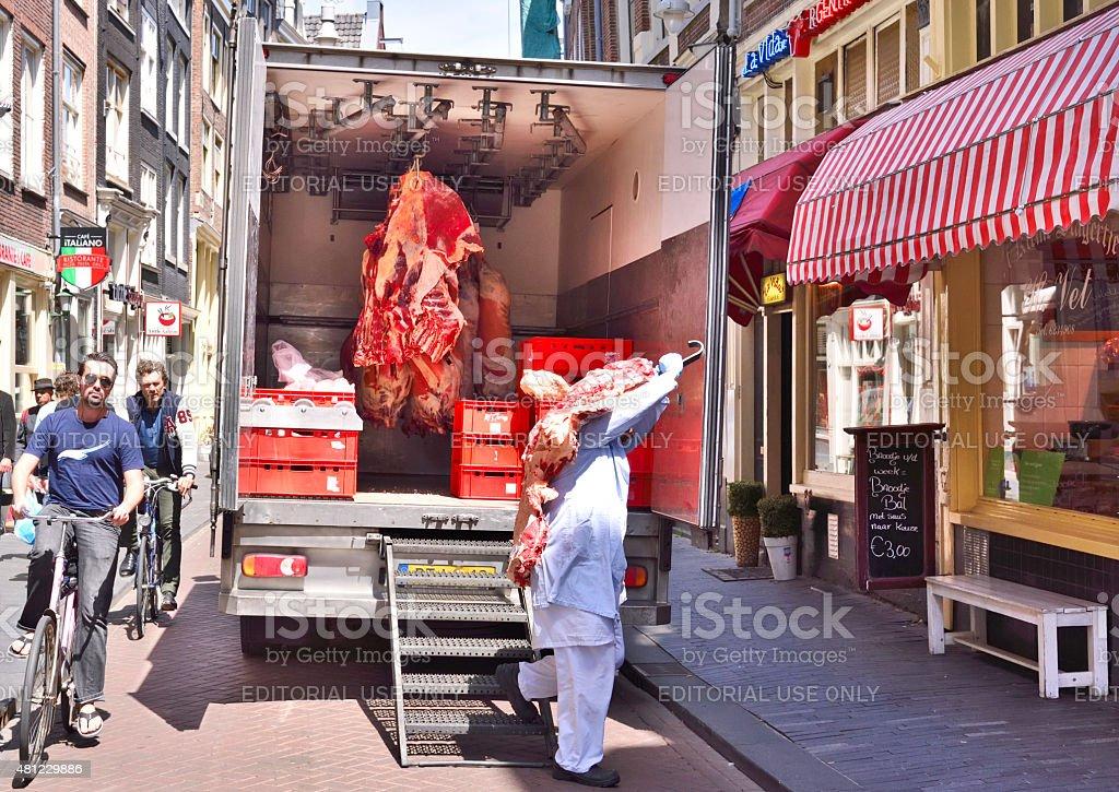 Meat transportation stock photo