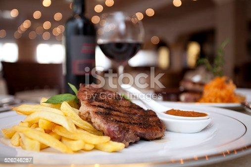 istock Meat, wine, restaurant 526246287