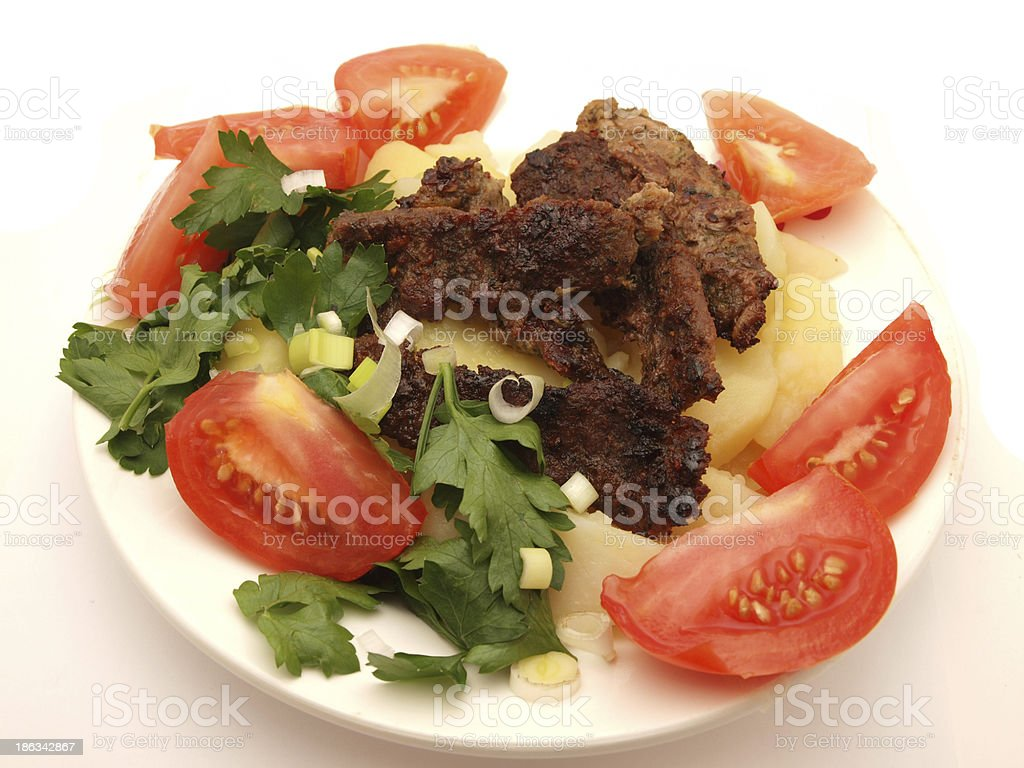 Meat with a potato royalty-free stock photo