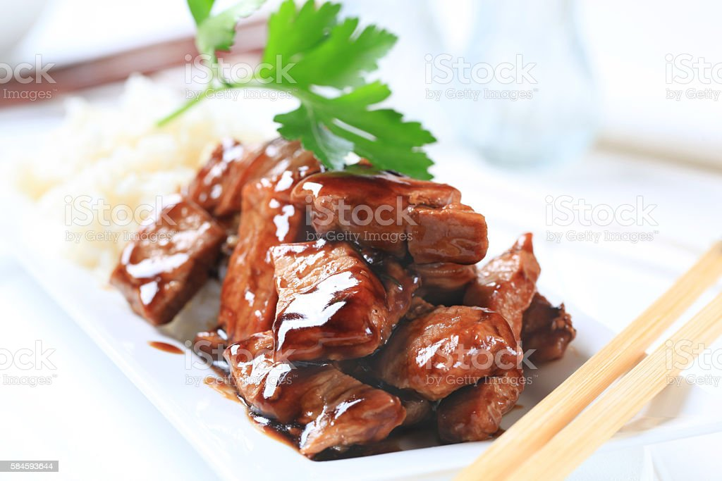 meat with soy sauce stock photo