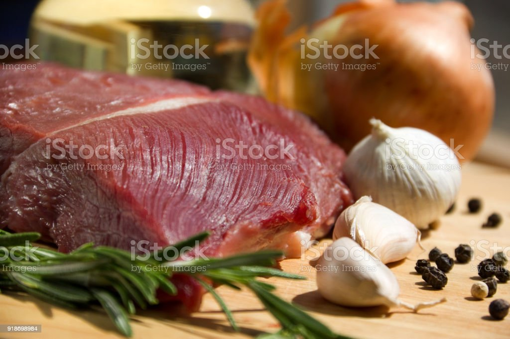 Meat with vegetables and spices stock photo