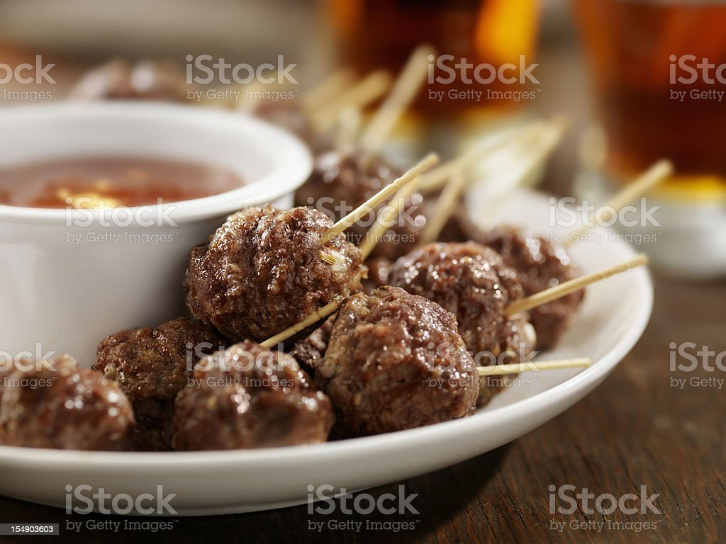 Meatball Appetizers with a Couple of Beers stock photo