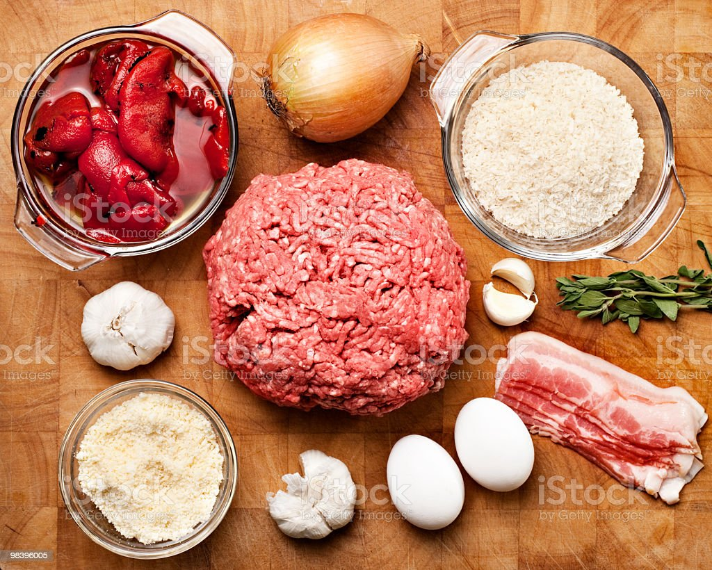 Meatball ingredients from above royalty-free stock photo