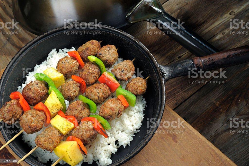 Meatball Skewers royalty-free stock photo