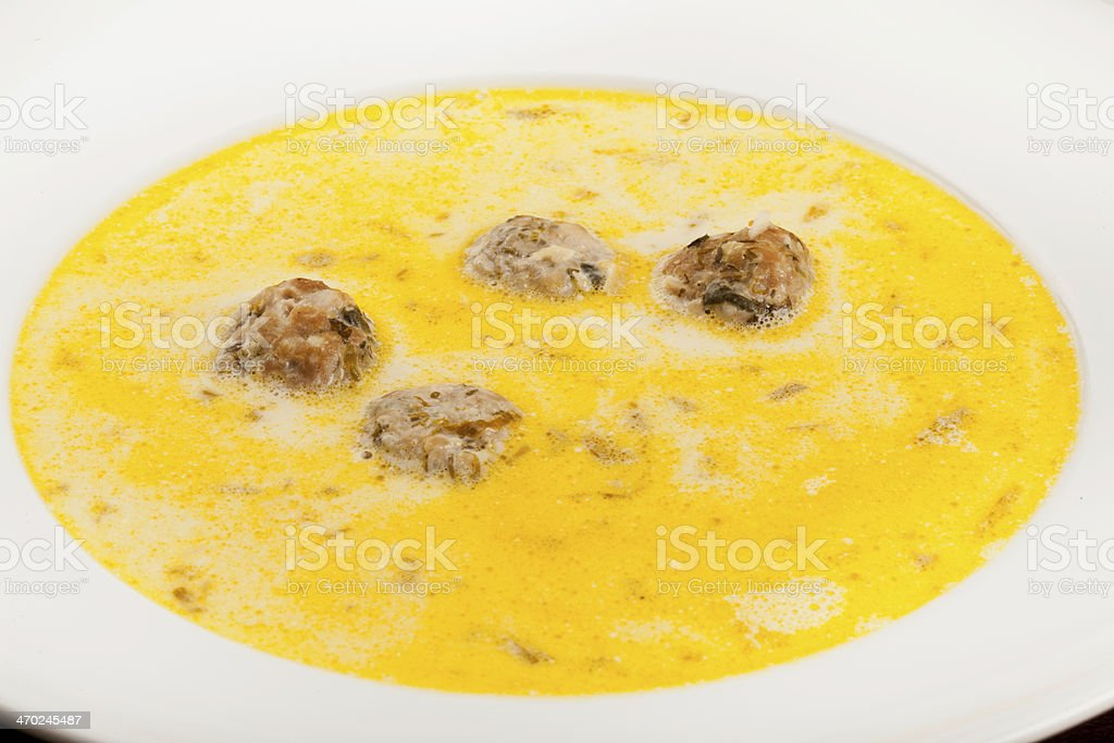 Meatball soup with borsch royalty-free stock photo