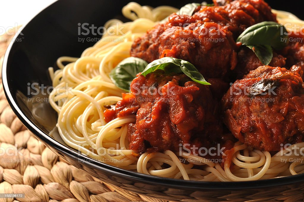 Meatballs and pasta royalty-free stock photo